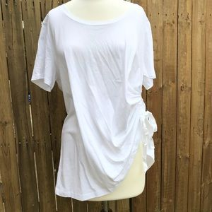 LOGO Lori Goldstein Classic White Tee Ruched Sides